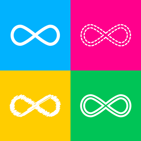 Limitless symbol illustration. Four styles of icon on four color squares. Illustration