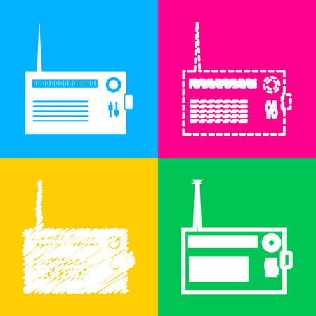 fm: Radio sign illustration. Four styles of icon on four color squares. Illustration