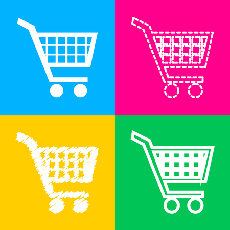 emarketing: Shopping cart sign. Flat style black icon on white.
