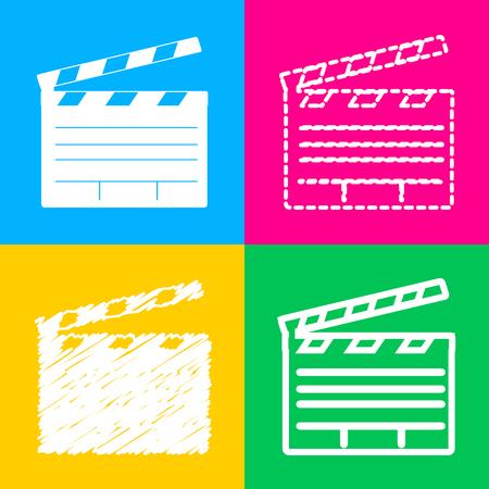 flick: Film clap board cinema sign. Flat style black icon on white.