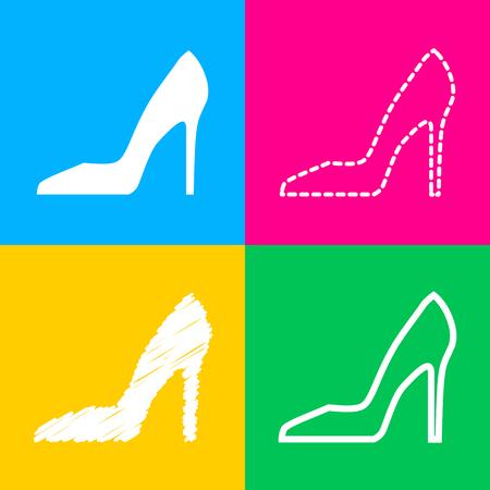 Woman shoe sign. Flat style black icon on white.