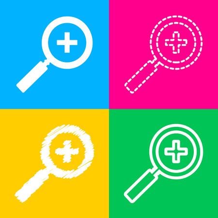 icons site search: Zoom sign illustration. Flat style black icon on white.