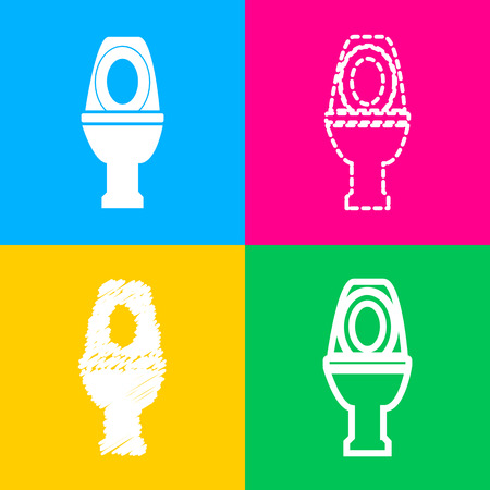 rom: Toilet sign illustration. Flat style black icon on white. Illustration