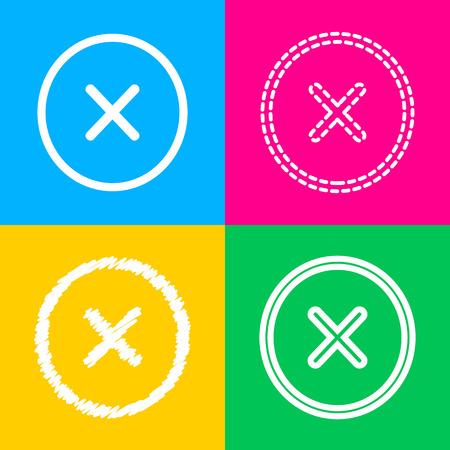 Cross sign illustration. Flat style black icon on white.
