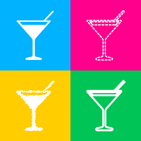 Cocktail sign illustration. Flat style black icon on white.