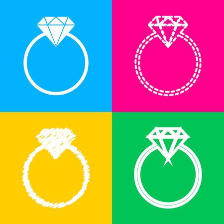 Diamond sign illustration. Flat style black icon on white. Illustration