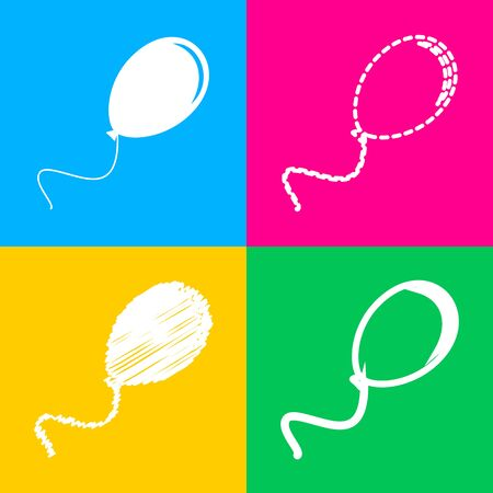 Balloon sign illustration. Four styles of icon on four color squares.