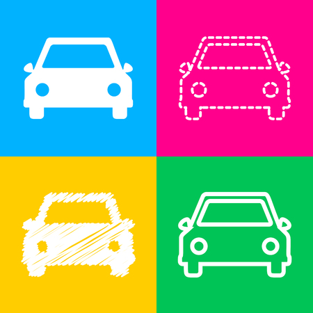 car: Car sign illustration. Four styles of icon on four color squares. Illustration