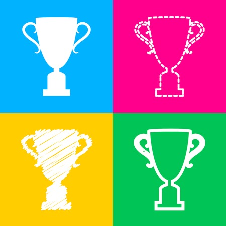 Champions Cup sign. Four styles of icon on four color squares. Illustration