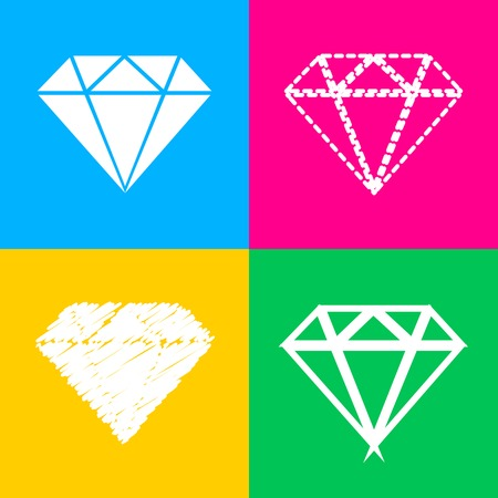 Diamond sign illustration. Four styles of icon on four color squares.