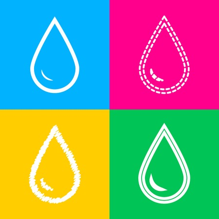 Drop of water sign. Four styles of icon on four color squares. Illustration