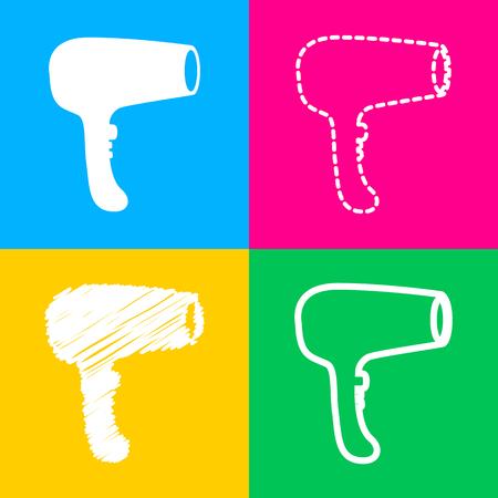 Hair Dryer sign. Flat style black icon on white. Illustration