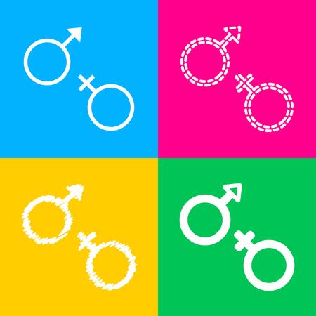 Sex symbol sign. Flat style black icon on white.