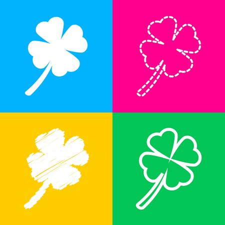 Leaf clover sign. Flat style black icon on white.