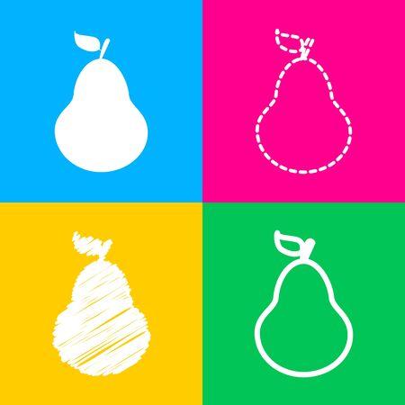 Pear sign illustration. Flat style black icon on white. Illustration
