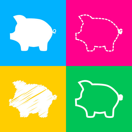 Pig money bank sign. Flat style black icon on white.