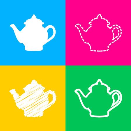 Tea maker sign. Flat style black icon on white.