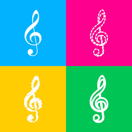 quaver: Music violin clef sign. G-clef. Treble clef. Flat style black icon on white.
