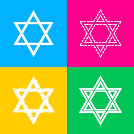 Shield Magen David Star. Symbol of Israel. Flat style black icon on white.