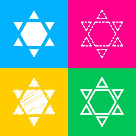 chanukkah: Shield Magen David Star Inverse. Symbol of Israel inverted. Flat style black icon on white.