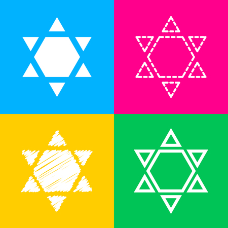 Shield Magen David Star Inverse. Symbol of Israel inverted. Flat style black icon on white.