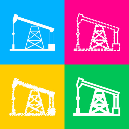 oil and gas industry: Oil drilling rig sign. Flat style black icon on white.
