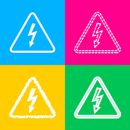 High voltage danger sign. Four styles of icon on four color squares. Illustration