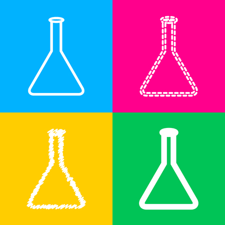 Conical Flask sign. Four styles of icon on four color squares. Illustration