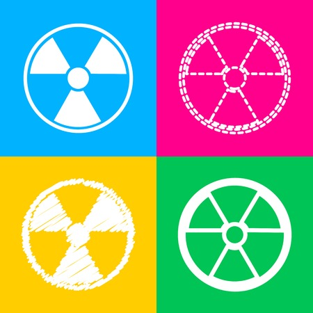 Radiation Round sign. Four styles of icon on four color squares.