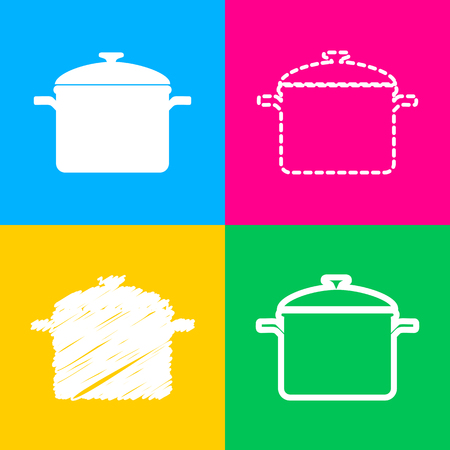 Cooking pan sign. Four styles of icon on four color squares.