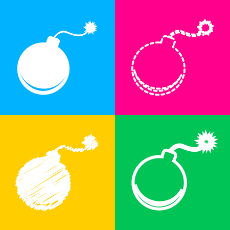 Bomb sign illustration. Four styles of icon on four color squares.