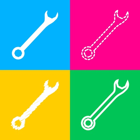 Crossed wrenches sign. Four styles of icon on four color squares.