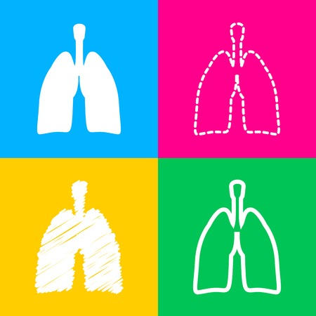Human organs Lungs sign. Four styles of icon on four color squares.