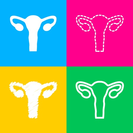 Human Body Anatomy Uterus sign. Four styles of icon on four color squares.