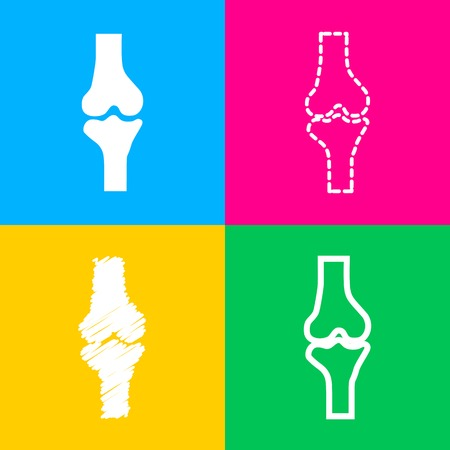 Knee joint sign. Four styles of icon on four color squares.