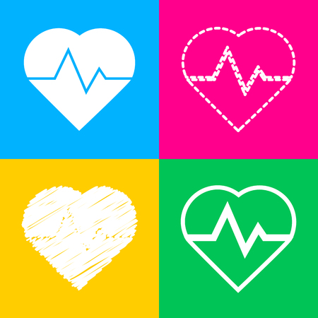 Heartbeat sign illustration. Four styles of icon on four color squares.