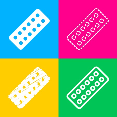 Medical Pills sign. Four styles of icon on four color squares. Illustration