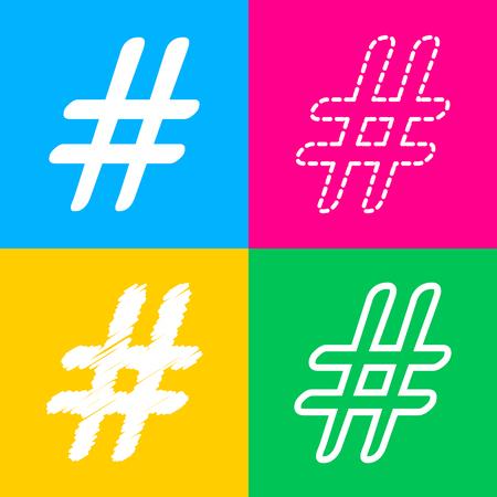 Hashtag sign illustration. Flat style black icon on white. Illustration