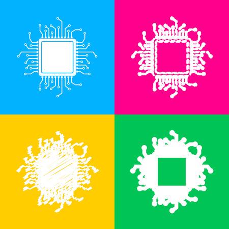 microcircuit: CPU Microprocessor illustration. Flat style black icon on white.