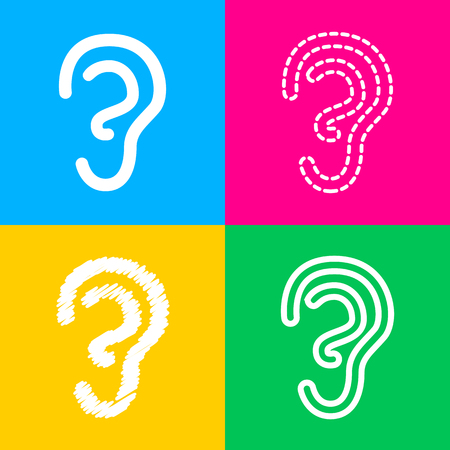 Signo de oído humano. Icono de estilo plano negro sobre blanco. Foto de archivo - 74581622