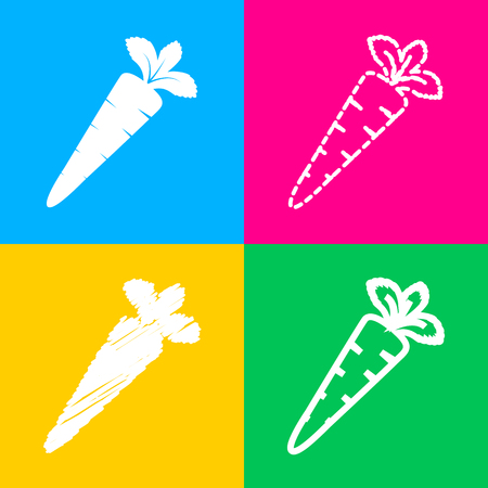 delectable: Carrot sign illustration. Flat style black icon on white.