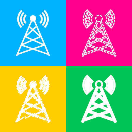 Antenna sign illustration. Flat style black icon on white.