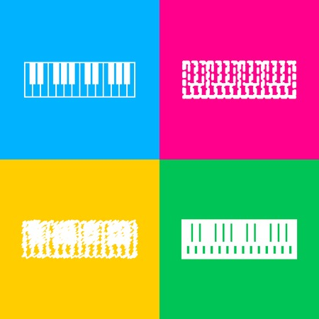 Piano Keyboard sign. Four styles of icon on four color squares.