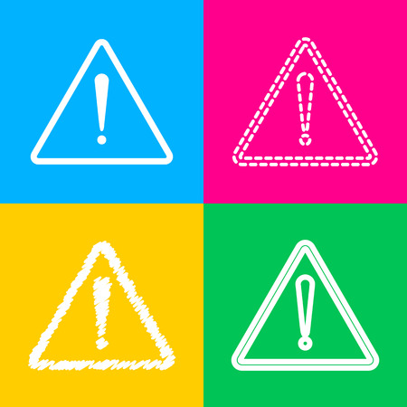 Exclamation danger sign. Flat style. Four styles of icon on four color squares.