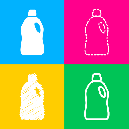 Plastic bottle for cleaning. Four styles of icon on four color squares.