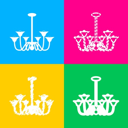 Chandelier simple sign. Four styles of icon on four color squares. Illustration