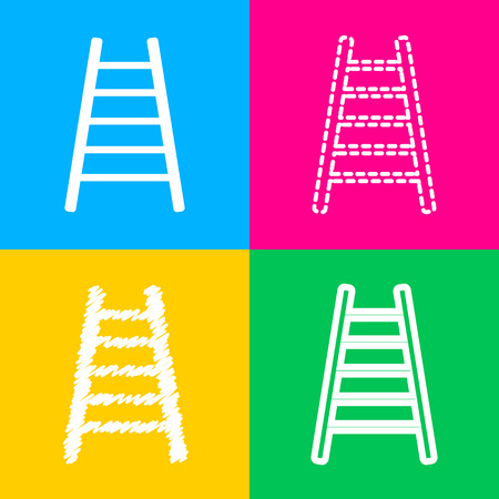 Ladder sign illustration. Four styles of icon on four color squares. Illustration