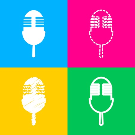 Retro microphone sign. Four styles of icon on four color squares. Illustration