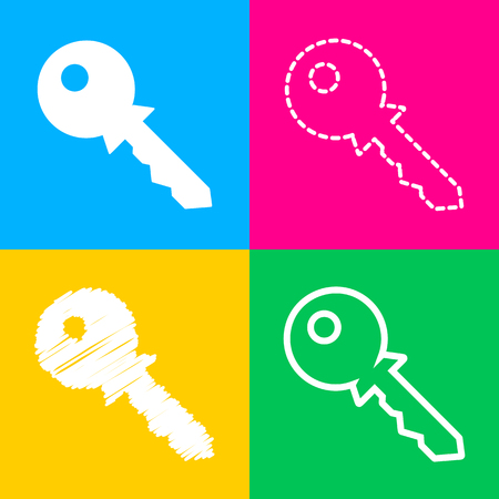 Key sign illustration. Four styles of icon on four color squares.