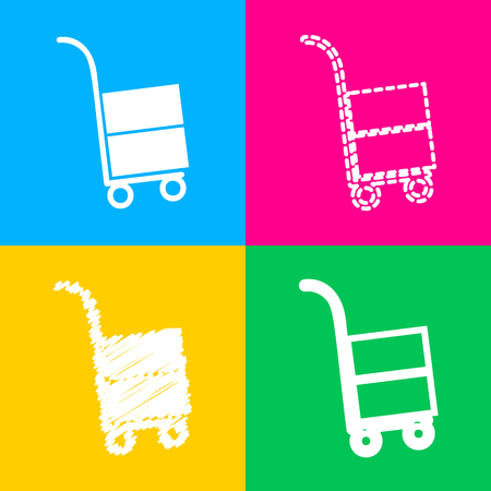 Hand truck sign. Four styles of icon on four color squares. Illustration